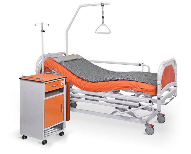 łóżko rehabilitacyjne szpitalne elektryczne A-6-3S/T z wyposażeniem i szafka przyłóżkowa szpitalna SM-01