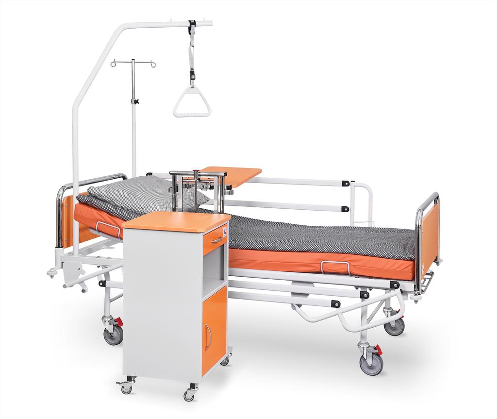 Łóżko rehabilitacyjne szpitalne A4/G z wyposażeniem i szafka szpitalna przyłóżkowa z blatem bocznym SM-02