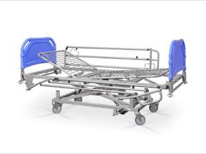 Łóżko rehabilitacyjne szpitalne AH z barierkami bocznymi - szczyty tworzywowe