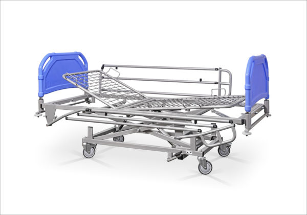 Łóżko rehabilitacyjne szpitalne hydrauliczne AH z barierkami bocznymi – szczyty tworzywowe