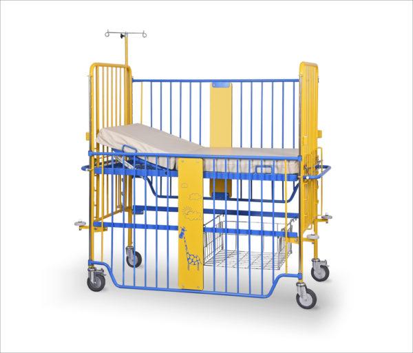 Łóżeczko dziecięce rehabilitacyjne szpitalne D-01 z wyposażeniem