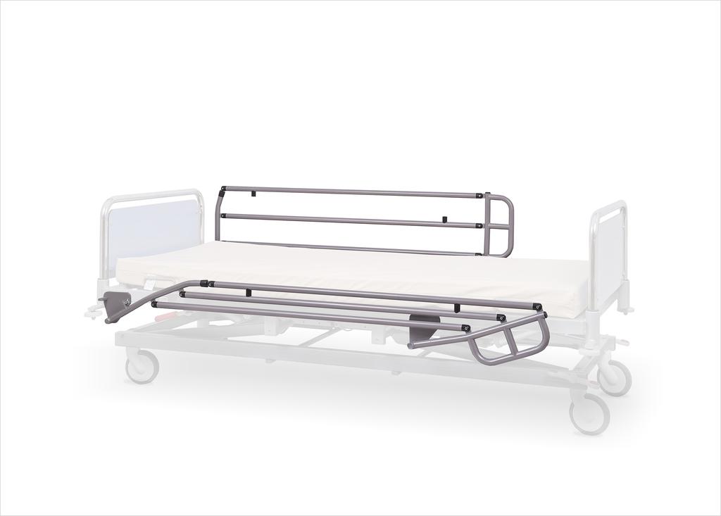 barierki boczne metalowe malowane składane poniżej poziomu leża medycznego łóżka szpitalnego