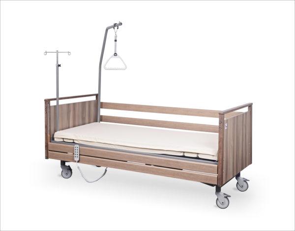 Łóżko rehabilitacyjne elektryczne A-6-3S/T w obudowie drewnianej z wyposażeniem