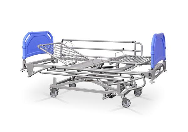 Łóżko rehabilitacyjne szpitalne hydrauliczne AH/3S z barierkami bocznymi – szczyty tworzywowe