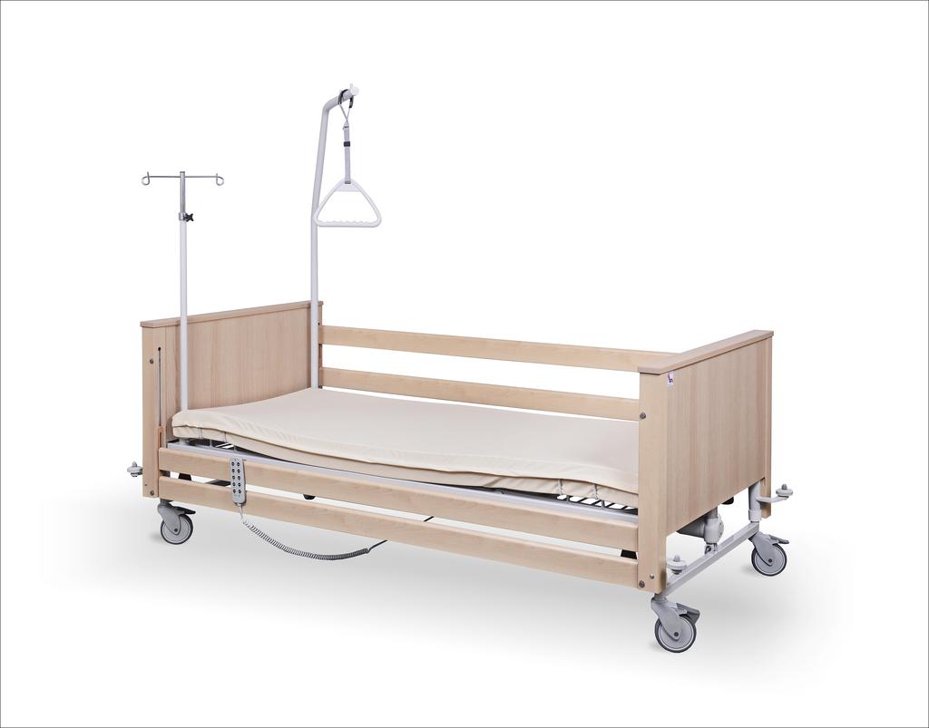 Łóżko rehabilitacyjne elektryczne B1/3S z wyposażeniem i odbojnikami
