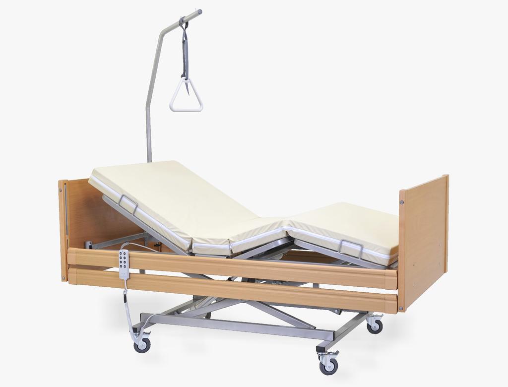 Łóżko rehabilitacyjne Magda z wyposażeniem w obudowie drewniane przeznaczone do opieki długoterminowej nad pacjentem