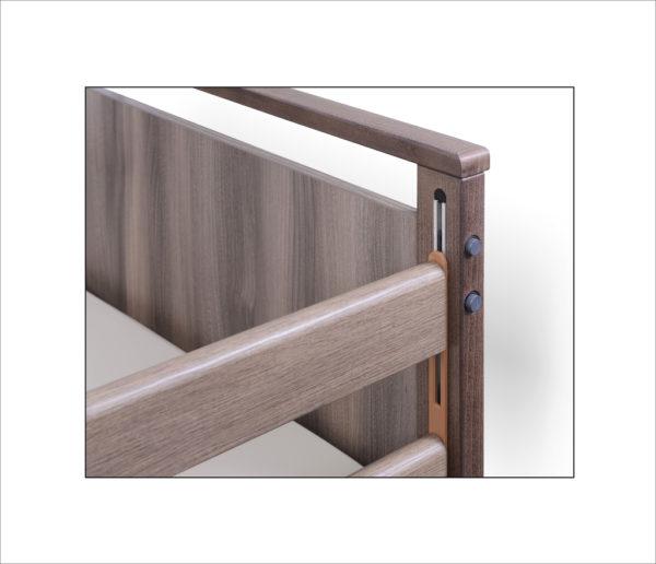Łóżko rehabilitacyjne elektryczne A-6-3S/T w obudowie drewnianej- szczyt i barierka
