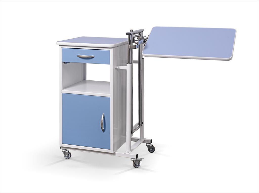 Szpitalna szafka przyłóżkowa z blatem bocznym na sprężynie gazowej i półką na buty SM-02