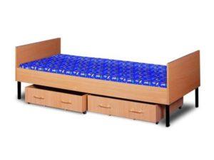 Tapczna jednosobowy w obudowie drewniane z drewnianymi półkami