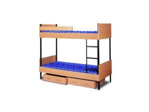 Tapczan piętrowy w obudowie drewnia z wysuwanym szufladami